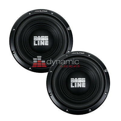 "(2) ALPINE SWA-12S4 Car Audio 12"" BASSLINE Single 4 Ohm Subwoofers 750 Watts New"