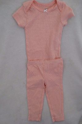 Carter's Baby Girl 2 Piece Set Pant Bodysui Size 9 Months Short Sleeves