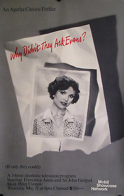 "Why Didn't They Ask Evans-Agatha Christie Original Pbs Poster 46"" X 30"" Mint"