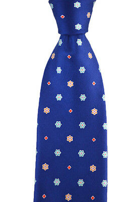"Mens BRIONI Blue Floral dis. E060256 Hand Made Woven 3.25"" Silk Neck Tie NWT"