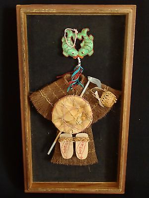 Antique Japanese Straw Mino Rain Cape hat Shoes & Hat Framed Wall décor Dolls
