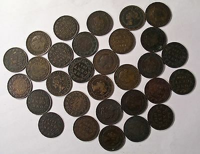 30 THIRTY COIN lot Queen Victoria CANADA LARGE CENT PENNY Coins