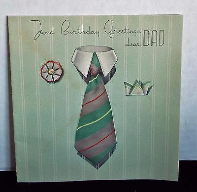 Vintage Birthday Card ~ Dear Dad ~ Tie ~ Flower ~ Hankerchief