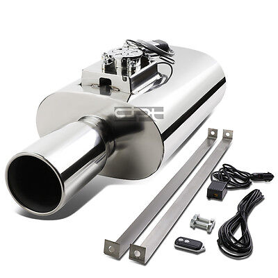 """4"""" Rolled Tip Chrome Stainless Muffler Exhaust+Electric Remote Sound Silencer"""