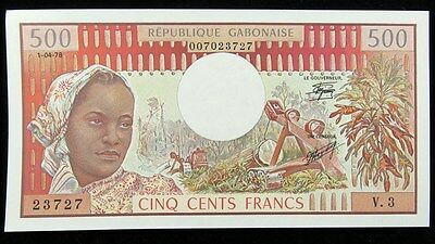 1978 Gabon 500 Cents Francs Banknote Bank of Central African States