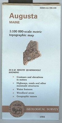 US Geological Survey topographic map metric AUGUSTA Maine 1984