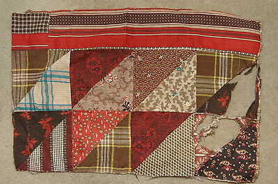 Antique Early Madder c 1830-1860 Quilt Top Piece Fabrics Study H