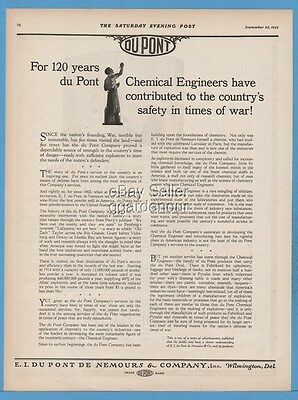 1922 E.I. Dupont De Nemours Wilmington DE Chemical Engineer Times of War Ad
