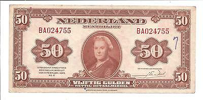 1943 Netherlands Nederland Holland  50  Gulden Bank Note - Muntbiljet Scarce
