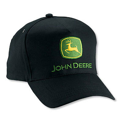 JOHN DEERE *BLACK HIGH CROWN STRUCTURED PANEL* Twill CAP HAT *BRAND NEW*