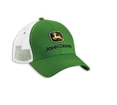 JOHN DEERE *GREEN & WHITE* Twill Mesh CAP HAT *BRAND NEW*