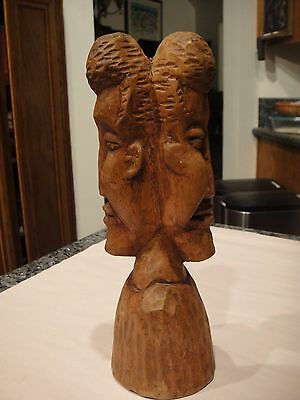 "Solid Wood Hand Carved Dual Headed Statue 11"" Tall Wonderful Detail Wood Carving"