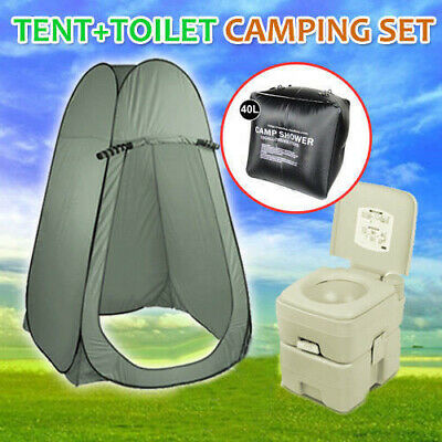 20L Portable Outdoor Camping Toilet Plus Shower Tent With FREE 40L Shwer Bag