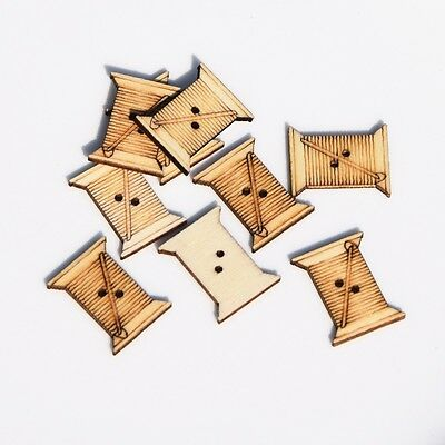 DIY 20X Natural color wooden buttons coil shape garment sewing scrapbooking 24mm