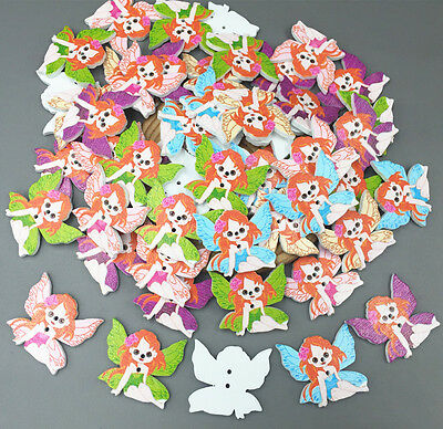 DIY 25X Bulk Angel Wooden Sewing Buttons Scrapbooking 2 Holes For baby 29mm