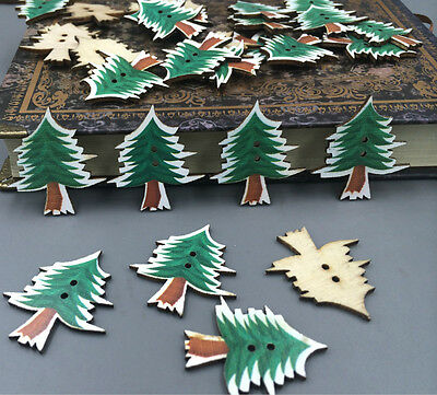 DIY 25X Wooden Christmas tree Buttons sewing decoration Scrapbooking crafts 31mm