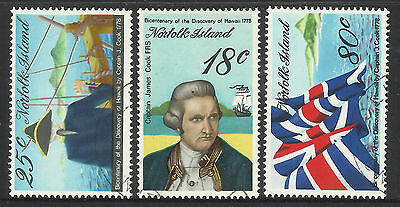 NORFOLK IS 1978 CAPTAIN COOK Discovery Hawaii Set 3v USED/CTO