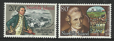 NORFOLK IS 1978 CAPTAIN COOK 250th Anniv Birth Set 2v USED/CTO