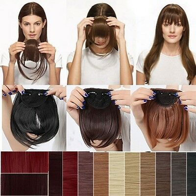 100% Real Natural Straight Hair Extension Clip In Front Hair Bangs Fringe Human