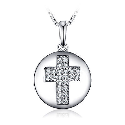 JewelryPalace 0.11ct Round Cubic Zirconia Cross Motif Pendant Necklace925 Silver