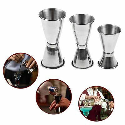 3-Size Jigger Single Measure Cup Double Shot Cocktail Wine Short Drink Bar Party