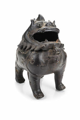 Chinese 19th C. Chin Dynasty Bronze Foo Dog Incense Burner-Rare