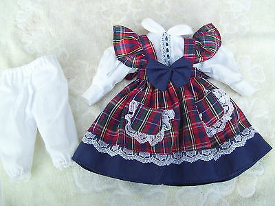 Alte Puppenkleidung BlueRedWhite Dress Outfit vintage Doll clothes 30 cm Girl
