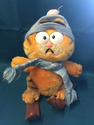 Garfield Vintage Soft Toy Wearing Ski Gear Made 1981