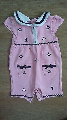 Pep & co Baby Girls Pink Sailor Romper Size 0-3 Months