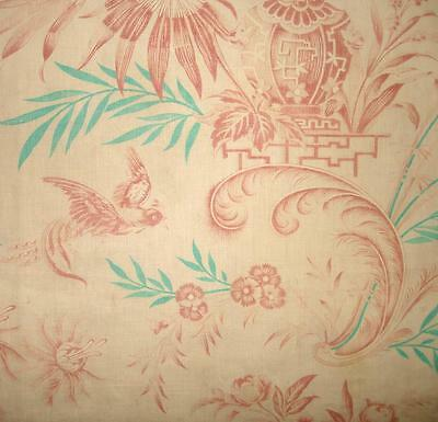 BEAUTIFUL GENTLY FADED 19th CENTURY FRENCH TOILE DE JOUY, BIRDS, VASE OF ROSES