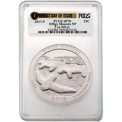 2017 P 5oz Effigy National Park Coin PCGS SP70 - First Day Of Issue