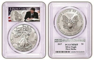 2017 1oz Silver Eagle PCGS MS69 - First Strike - Liberty Coin Act Label