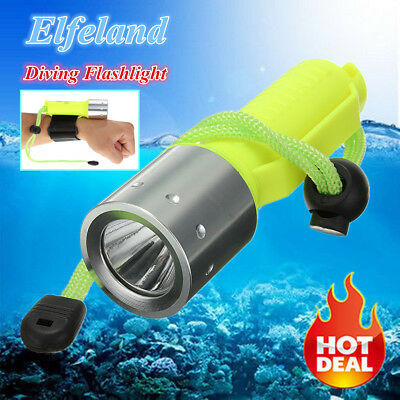 Elfeland 6000LM T6 LED Scuba Diving Flashlight Torch Underwater 50M Waterproof