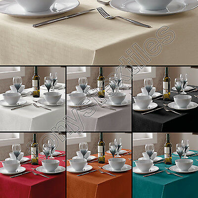 Luxury Linen Look Kitchen Tablecloths Black Orange Cream Red Silver Teal White