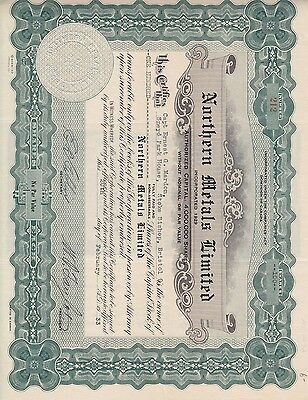 Stock Cert.: Northern Metals Limited, Canada, 1933 (S7210)
