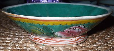 Antique Chinese 19Th Century Small Green Scalloped Rim Bowl * Marked China