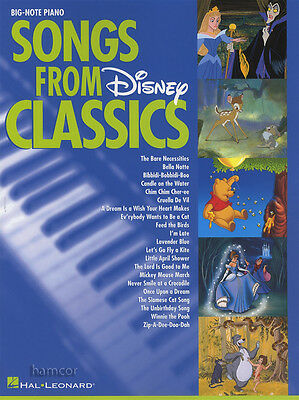 Songs From Disney Classics Big-Note Piano Very Easy Sheet Music Book