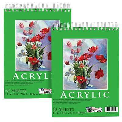 "11"" x 14"" Extra Heavy-Weight Acrylic Painting Paper Pad 246lb 12-Sheets (2-Pads)"