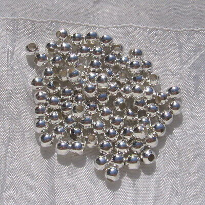 Lot De 100 Perles 5Mm Perforation 2Mm Rondes Metal Argente Silver Beads*A190