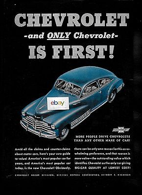 Chevrolet 1946 And Only Chevrolet Is First! More People Drive Than Any Other Ad