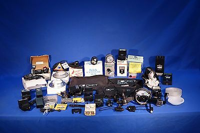 LOT of assorted flashes, brackets, modifiers, accessories, etc #L1192M