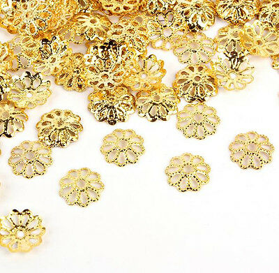 100Pcs Gold/Silver Plated Metal Charms Hollow Flower End Bead Caps DIY Findings