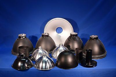LOT of assorted flash modifier reflectors, silver and black, etc #L1195M