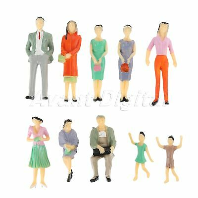 10x Plastic Figures People Model Architectural Scenery Layout Scale 1:30 Painted