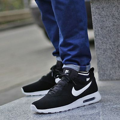 Nike AIR MAX TAVAS LEATHER Suede Men's Running Shoes Black/White 10.5 11