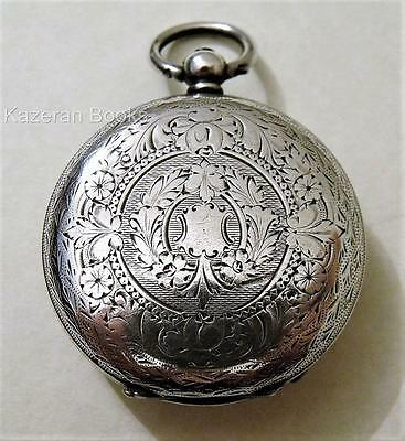 Antique Solid Silver Cased Fob Pocket Watch Spares Or Repair J B Yabsley Dial