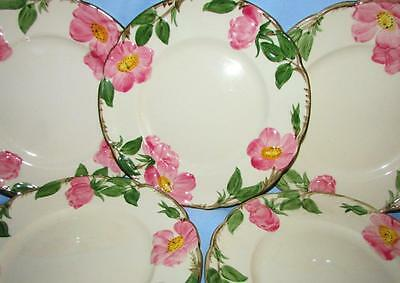 "Set of 5 Franciscan Pottery Pink Desert Rose 8"" Salad or Luncheon Plates"