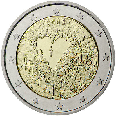 "2008 Finland 2 Euro UNC Coin ""Universal Declaration of Human Rights 60 Years"""