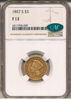1857-S $3 Gold F12 Ngc Cac   Cac Has Approved 1 In This Grade