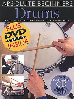Absolute Beginners Drums Lessons Learn How to Play Video Book CD DVD Pack NEW